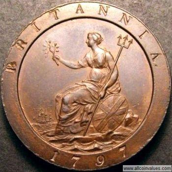 1797 British penny value, George III, cartwheel, 11 leaves