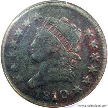1810 USA Classic Head penny, 10/09 overdate