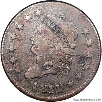 1811 USA Classic Head penny, 1/0 overdate