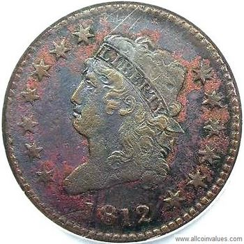 1812 USA Classic Head penny, large date