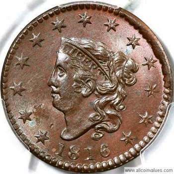 Coronet head USA one cent values, page 1, 1816 to 1824