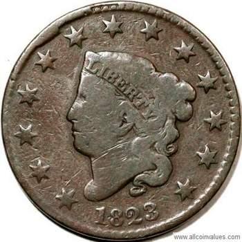 1823 US penny values (1 cent), coronet head varieties