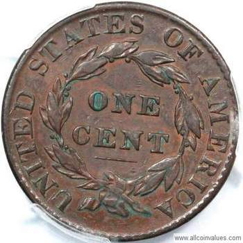 1823 Us One Cent Penny Value Coronet Head 3 Over 2