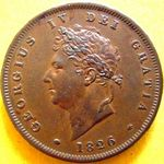 1826 UK penny value, George IV, plain saltire