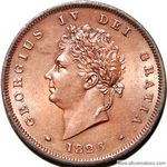 1826 UK penny value, George IV, thick line on saltire