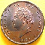 1826 UK penny value, George IV, thin line on saltire