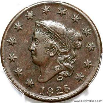 1826 Us Penny Value 1 Cent Coronet Head 6 5 Ovedate