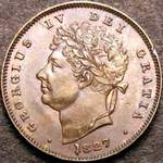 1827 UK third farthing value, George IV