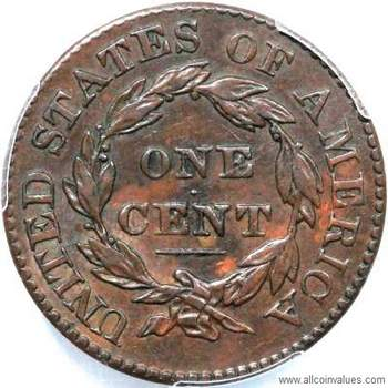 1828 Us One Cent Penny Value Coronet Head Small Wide Date