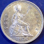 1836 UK fourpence (groat) value, William IV, closer colon