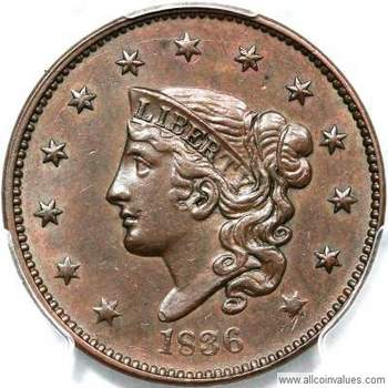 Coronet head USA one cent values, page 3, 1834 to 1839