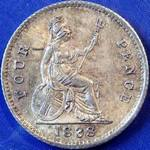 1838 UK fourpence (groat) value, Victoria, young head, 8 over sideways 8