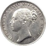 Queen Victoria era UK shilling values, young head, page 1 (1838 to 1853)