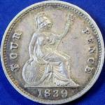 1839 UK fourpence (groat) value, Victoria, young head