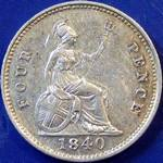 1840 UK fourpence (groat) value, Victoria, young head