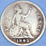 1841 UK fourpence (groat) value, Victoria, young head