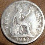 1842 UK fourpence (groat) value, Victoria, young head