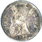 1845 UK fourpence (groat) value, Victoria, young head