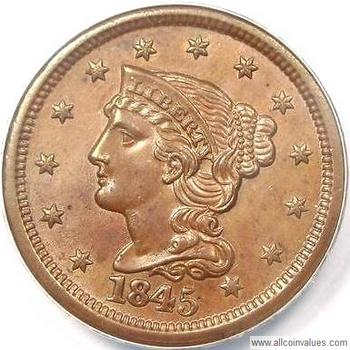 1845 Us One Cent Penny Value Braided Hair