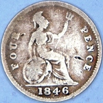 1846 UK fourpence (groat) value, Victoria, young head