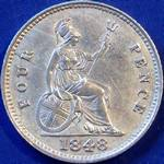 1848 UK fourpence (groat) value, Victoria, young head