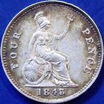 1848 UK fourpence (groat) value, Victoria, young head, 8 over 7