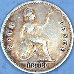 1849 UK fourpence (groat) value, Victoria, young head, 9 over 9