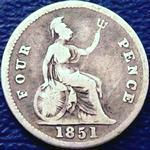 1851 UK fourpence (groat) value, Victoria, young head