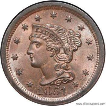 1851 Us One Cent Penny Value Braided Hair 51 Over Inverted 18