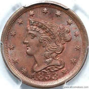 1853 Us Half Cent Value Braided Hair