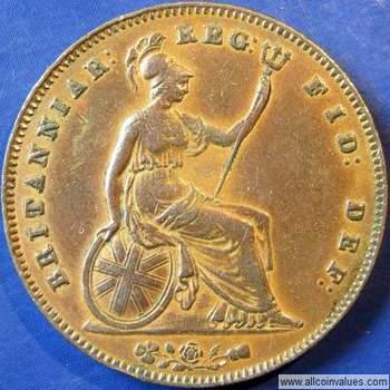 1854 UK penny value, Victoria, near colon, plain trident