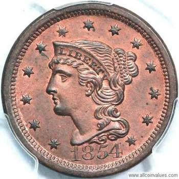 1854 Us One Cent Penny Value Braided Hair