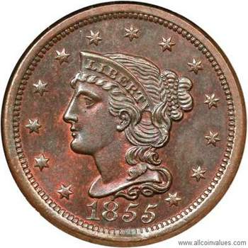 1855 Us Penny Values 1 Cent Braided Hair Varieties