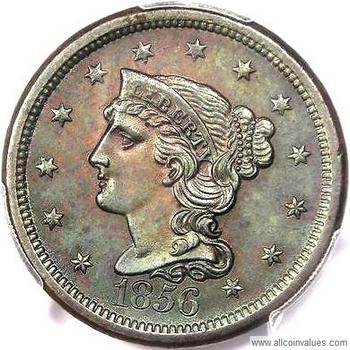 1856 US penny values (1 cent), braided hair varieties