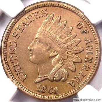 1861 Us One Cent Penny Value Indian Head