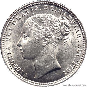 1868 UK shilling value, Victoria, young head