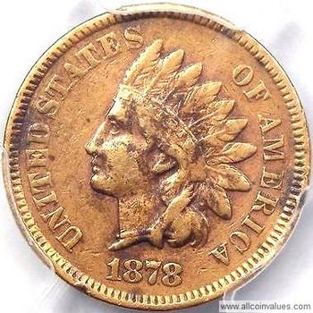1878 US one cent (penny) value, indian head