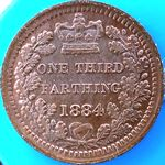 1884 UK third farthing value, Victoria