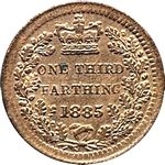 1885 UK third farthing value, Victoria