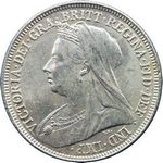 Queen Victoria era UK shilling values, old veiled head (1893 to 1901)