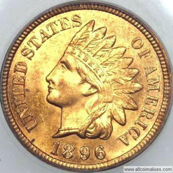 1896 US one cent (penny) value, indian head