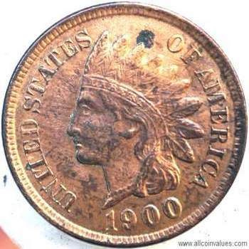 1900 US one cent (penny) value, indian head