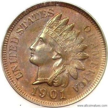 Indian Head USA one cent (penny) values (1859 to 1909)
