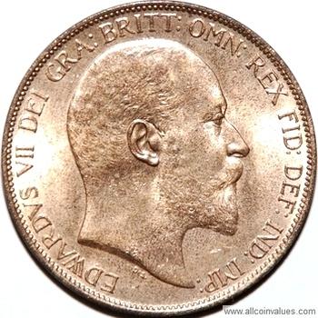 1902 UK penny value, Edward VII, high tide