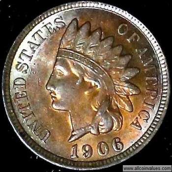 1906 US one cent (penny) value, indian head