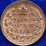 1913 UK third farthing value, George V