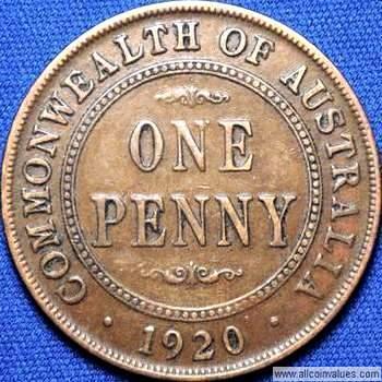 1920 Australian penny reverse, double dot