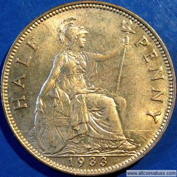 1933 UK halfpenny value, George V