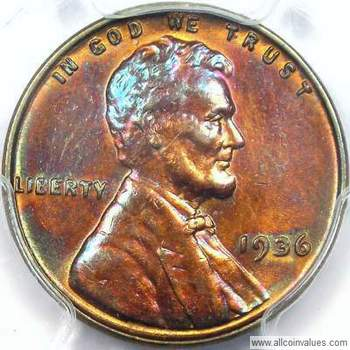 1936 P US one cent (penny) value, Lincoln wheat, doubled obverse