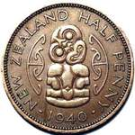 1940 New Zealand halfpenny